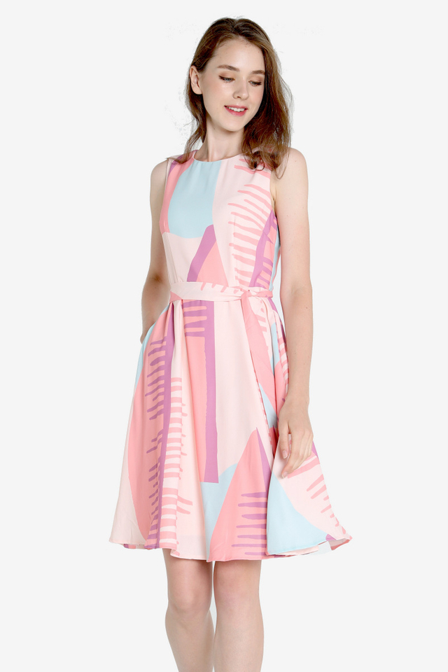 Kira Abstract Skater Dress (Pink)