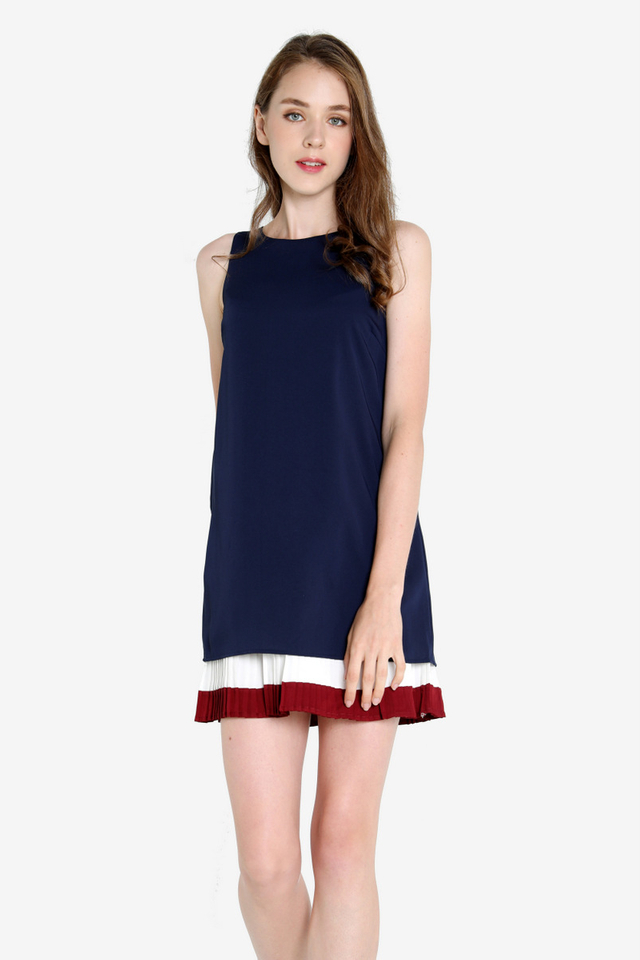 Dara Colourblock Pleated Dress