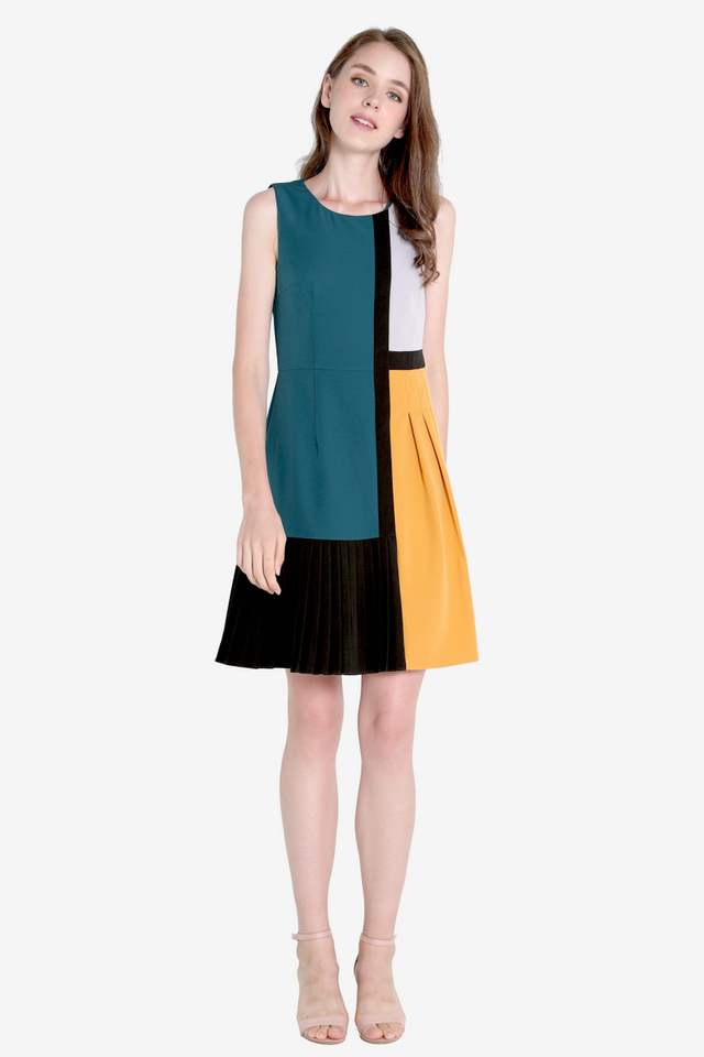Lisandra Colourblock Panel Dress (Teal)