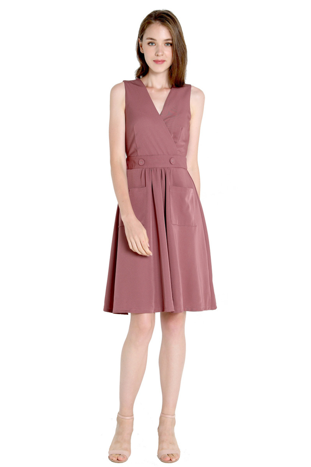 Yves V Neck Pocket Dress