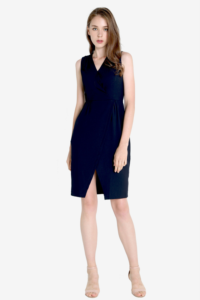 Clegg V Neck Work Dress (Navy Blue)