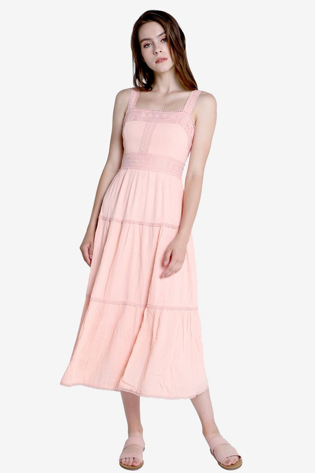 Carissa Tier Midi Dress (Pink)