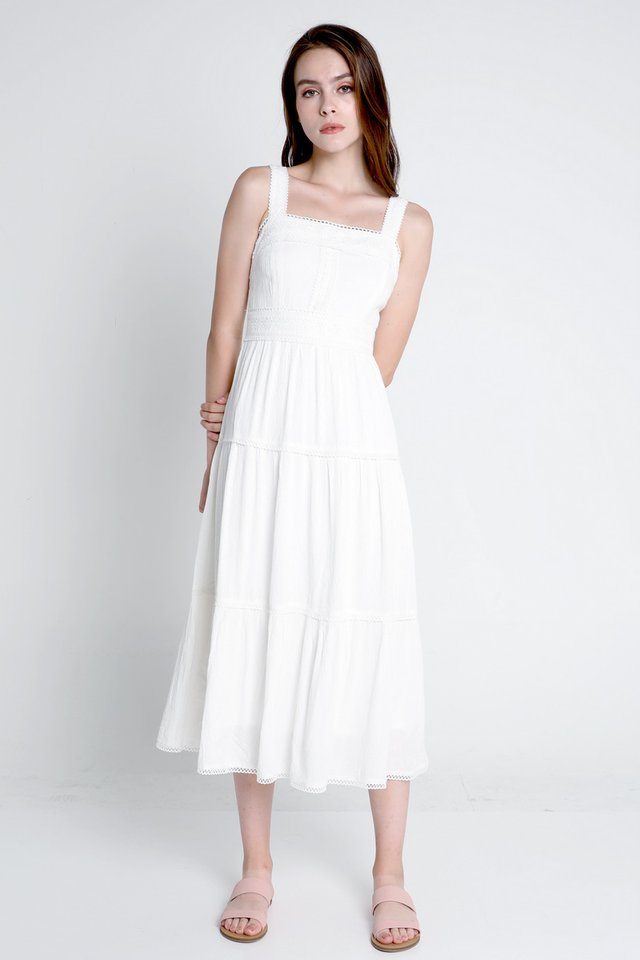Carissa Tier Midi Dress (White)