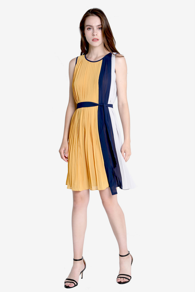 PO: Macy Colourblock Pleated Dress (Mustard)