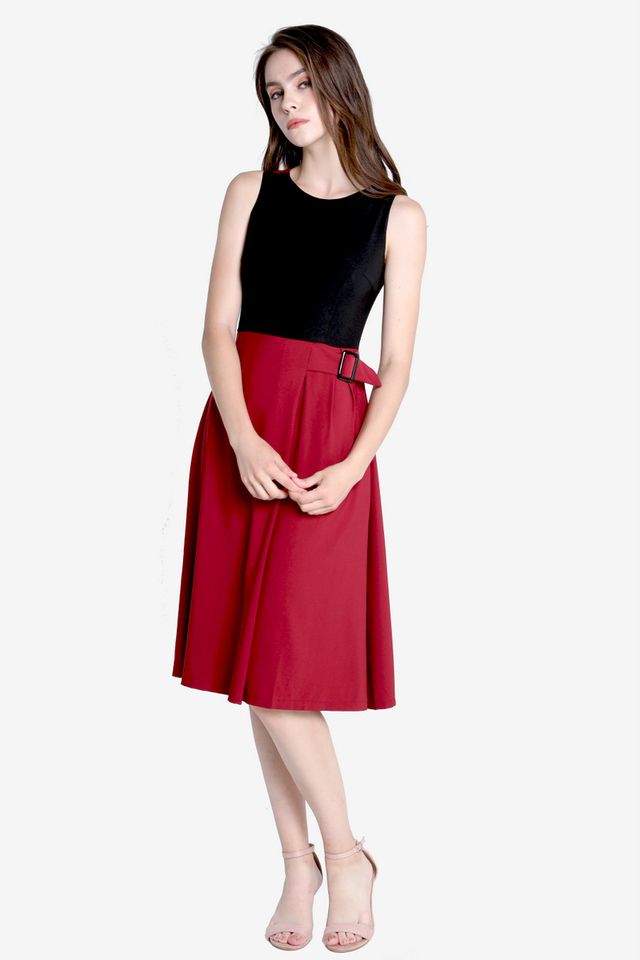 PO: Colours On My Shouder Dress (Black/Wine)