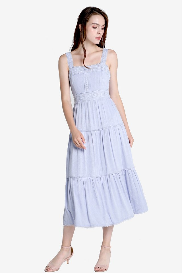 Carissa Tier Midi Dress (Sky Blue)