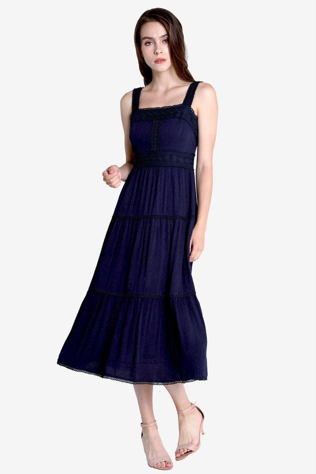 Carissa Tier Midi Dress (Navy Blue)