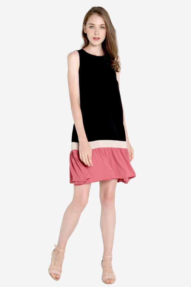 Freda Colourblock Reversible Dress (Black/Pink)
