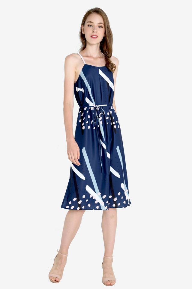 Sharri Abstract Spag Dress (Navy Blue)