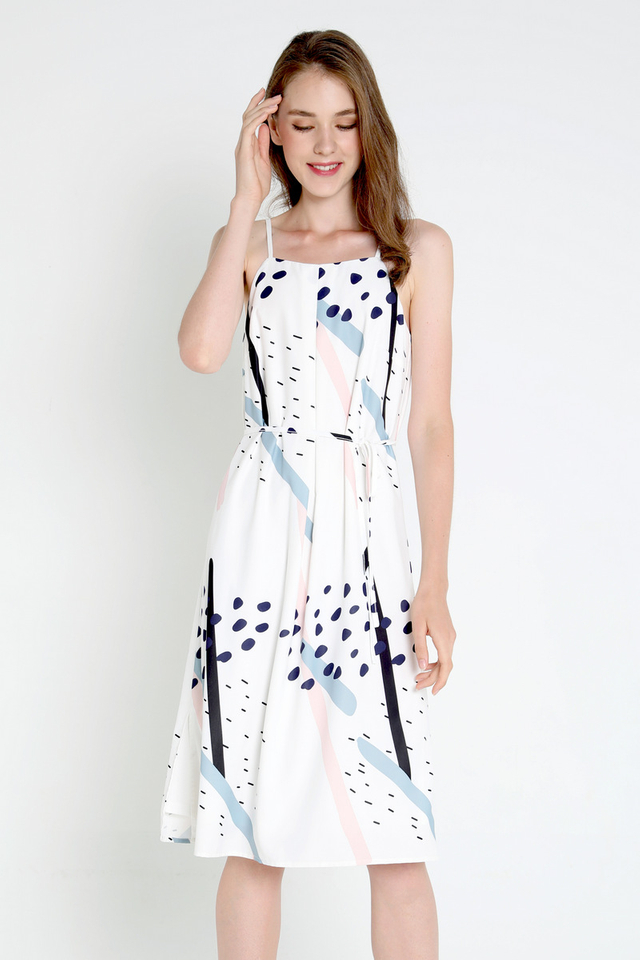Sharri Abstract Spag Dress (White)
