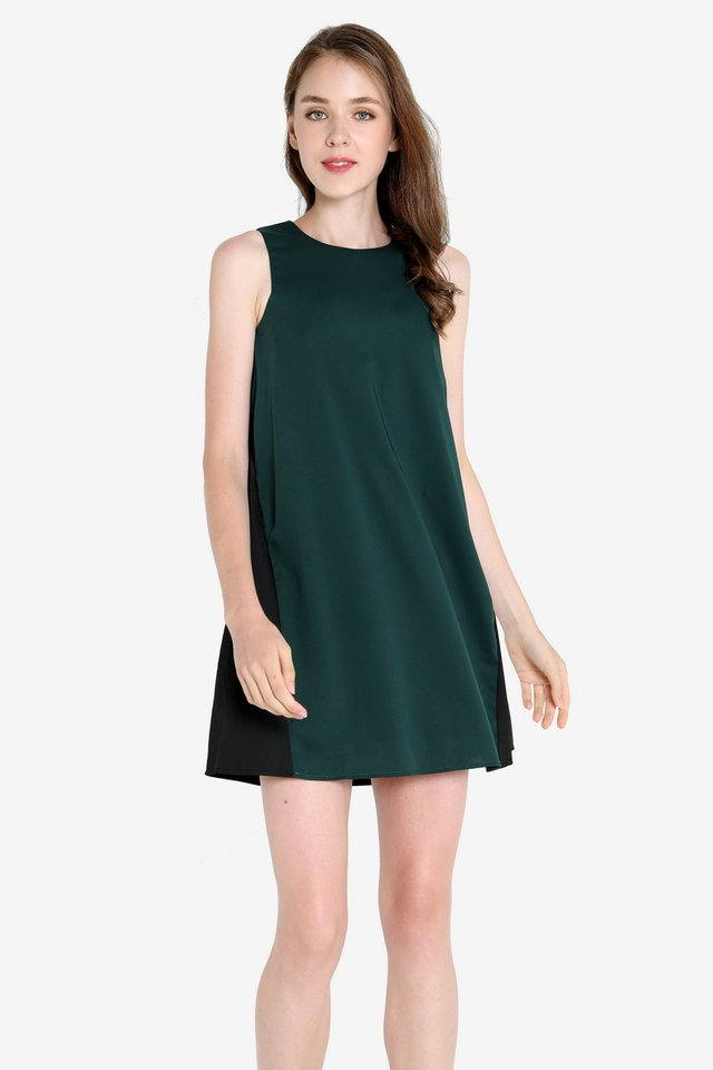 Trevino Slant Pocket Dress (Forest Green)