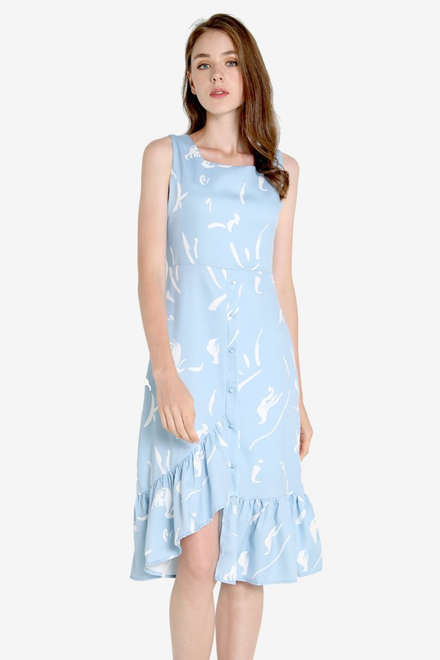 Jodine Squareneck Abstract Dress (Blue)