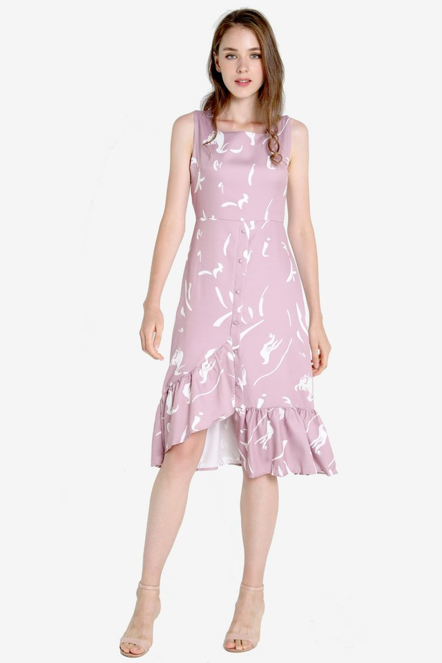 Jodine Squareneck Abstract Dress (Pink)