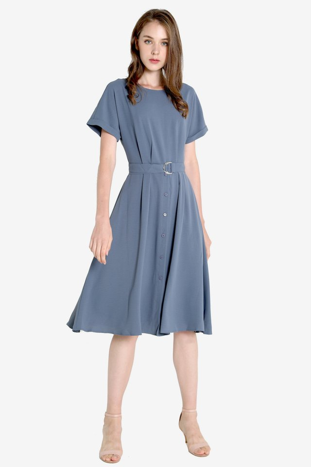 Marti Abstract Sleeved Dress (Blue)