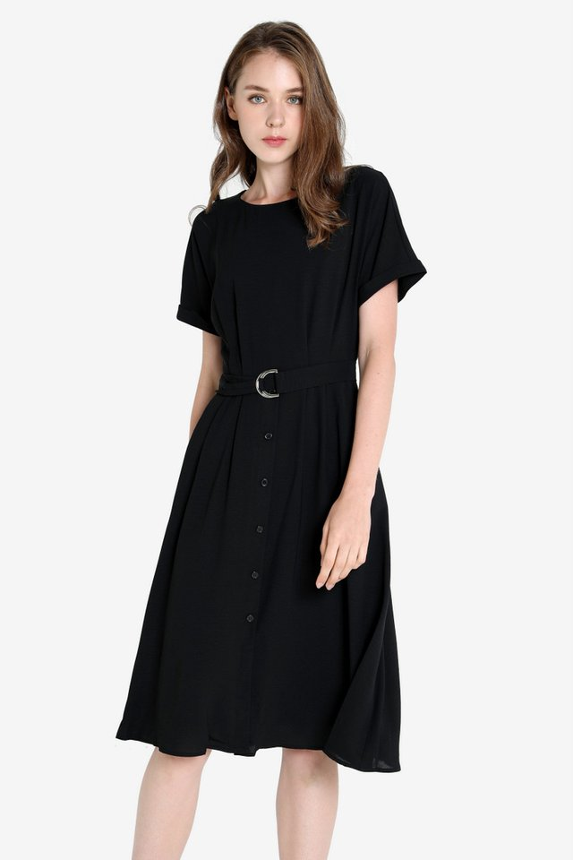Marti Abstract Sleeved Dress (Black)