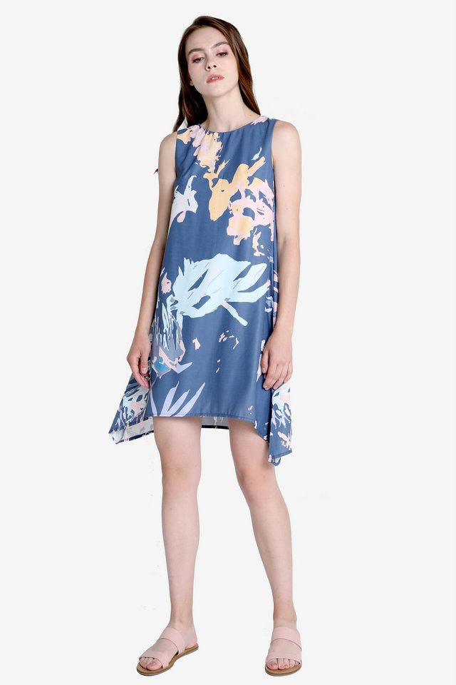 Fiona Abstract Floral Trapeze Dress (Navy Blue)