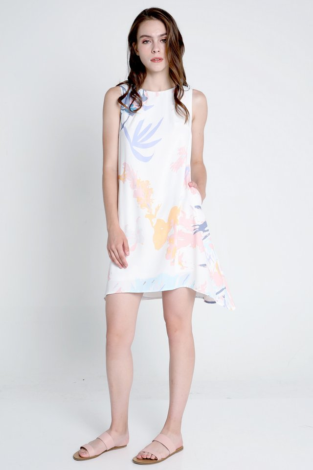 Fiona Abstract Floral Trapeze Dress (White)