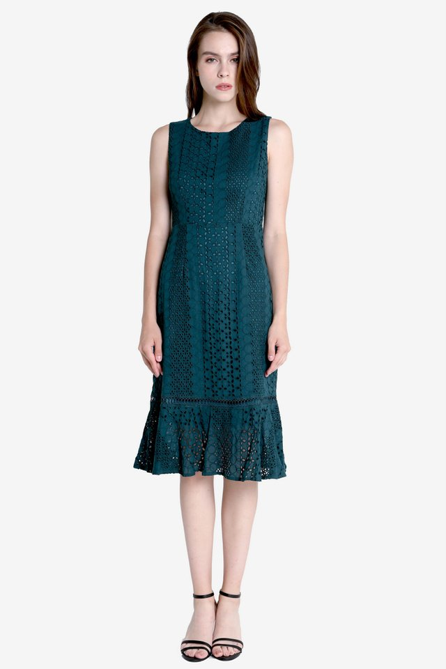 Morey Eyelet Midi Dress (Forest Green)