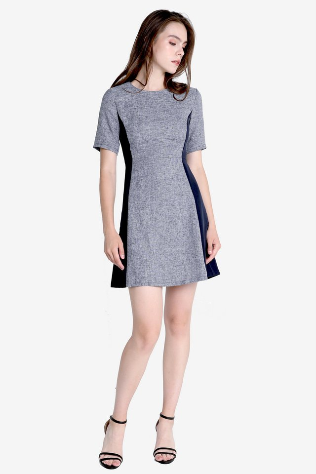 Vernia Sleeved Work Dress (Tweed Blue)