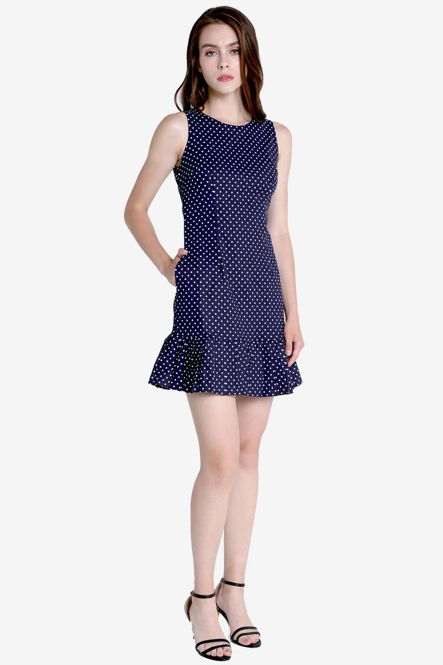 Zoey Polkadot Pleated Hem Dress (Navy Blue)