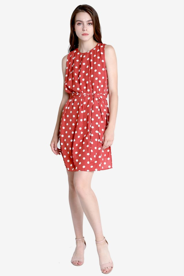 Walter Flap Sash Dress (Red)