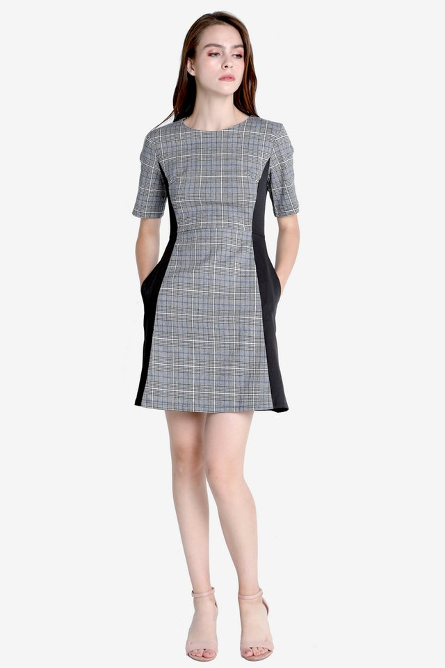 Vernia Sleeved Work Dress (Checks)