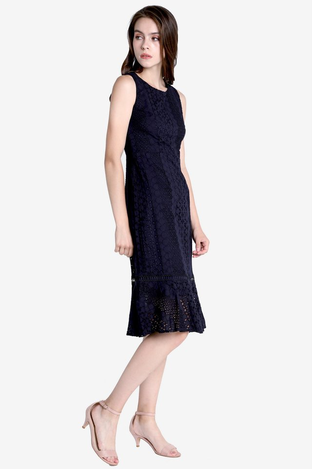 Morey Eyelet Midi Dress (Navy Blue)
