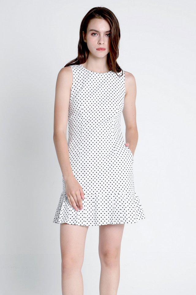 Zoey Polkadot Pleated Hem Dress (White)