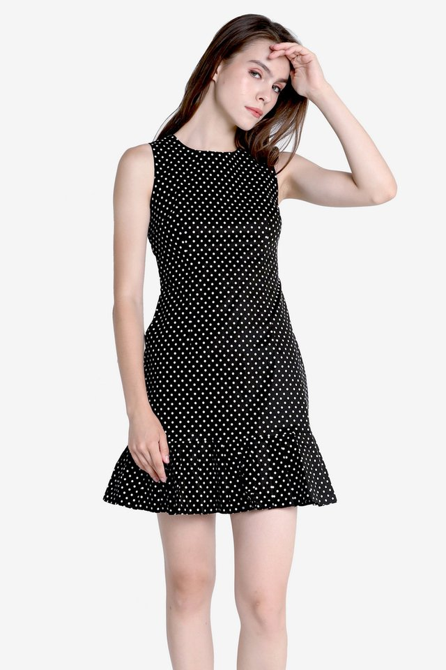 Zoey Polkadot Pleated Hem Dress (Black)