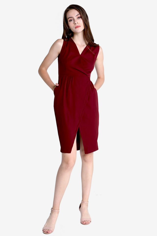 Clegg V Neck Work Dress (Wine)