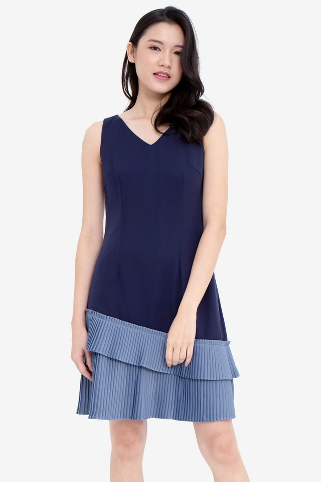 Hellen V-Neck Pleated Hem Dress (Navy/Blue)
