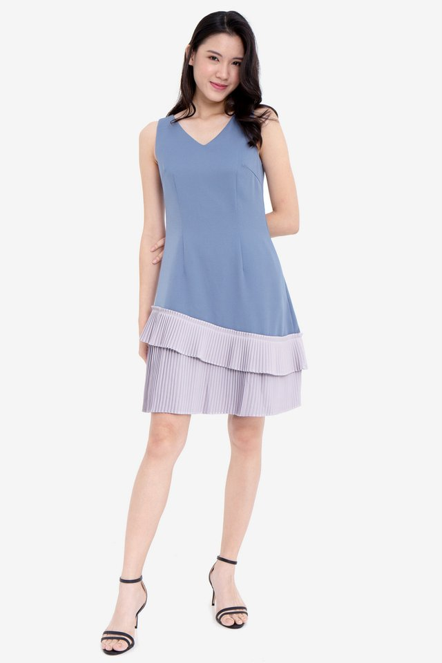 Hellen V-Neck Pleated Hem Dress (Blue/Grey)