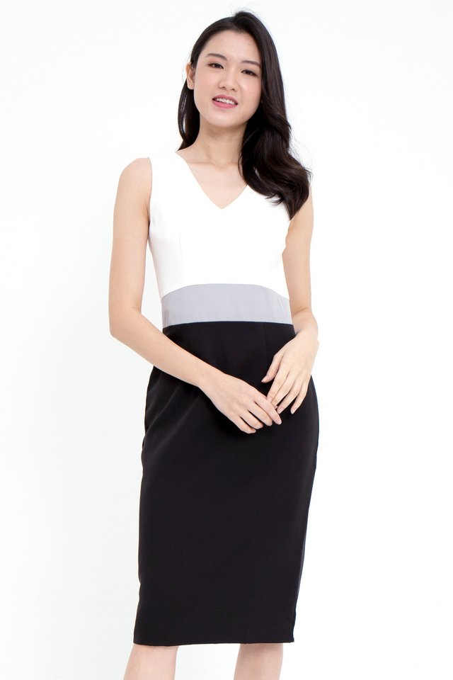 Parson Colourblock Pencil Dress (White Top)