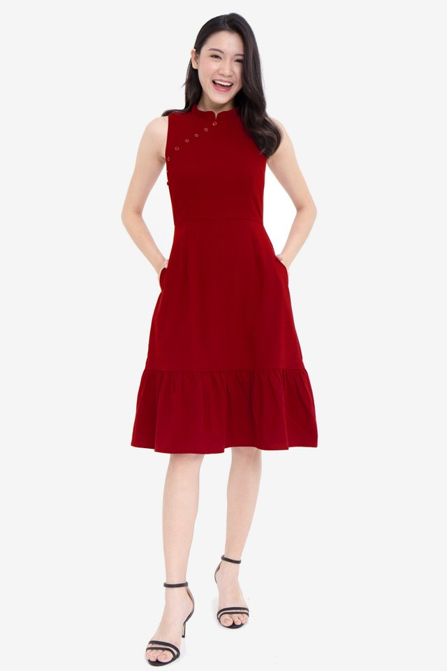 Mariette Button  Removable Collar Mermaid Dress (Wine)