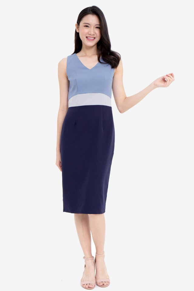 Parson Colourblock Pencil Dress (Navy Top)