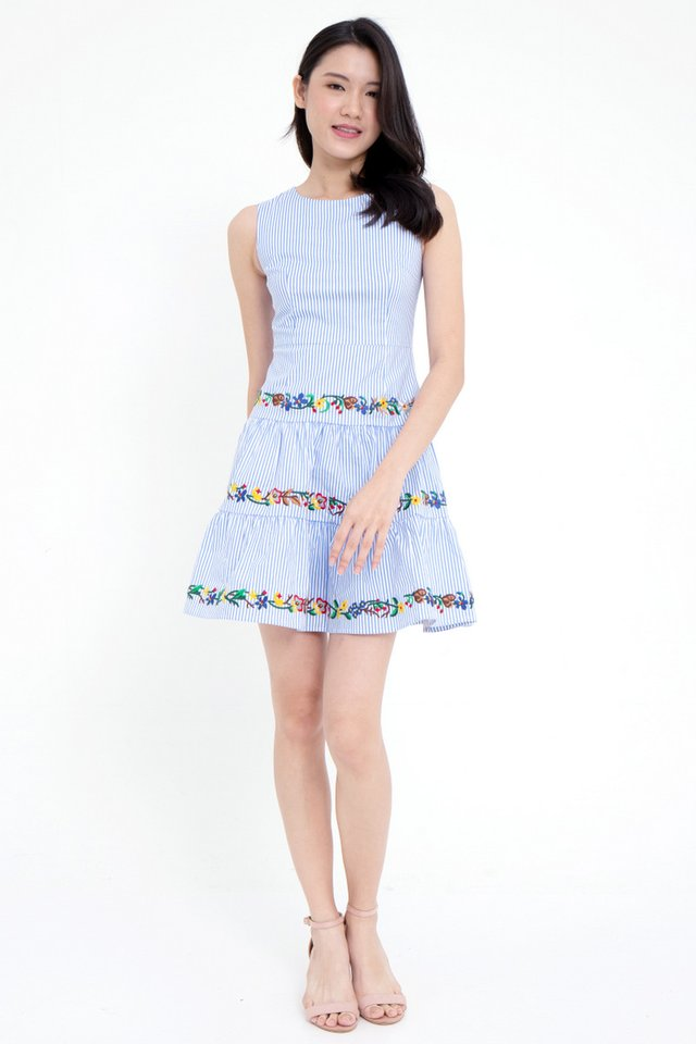 Brittany Embroidery Detailed Skater Dress (Stripes)