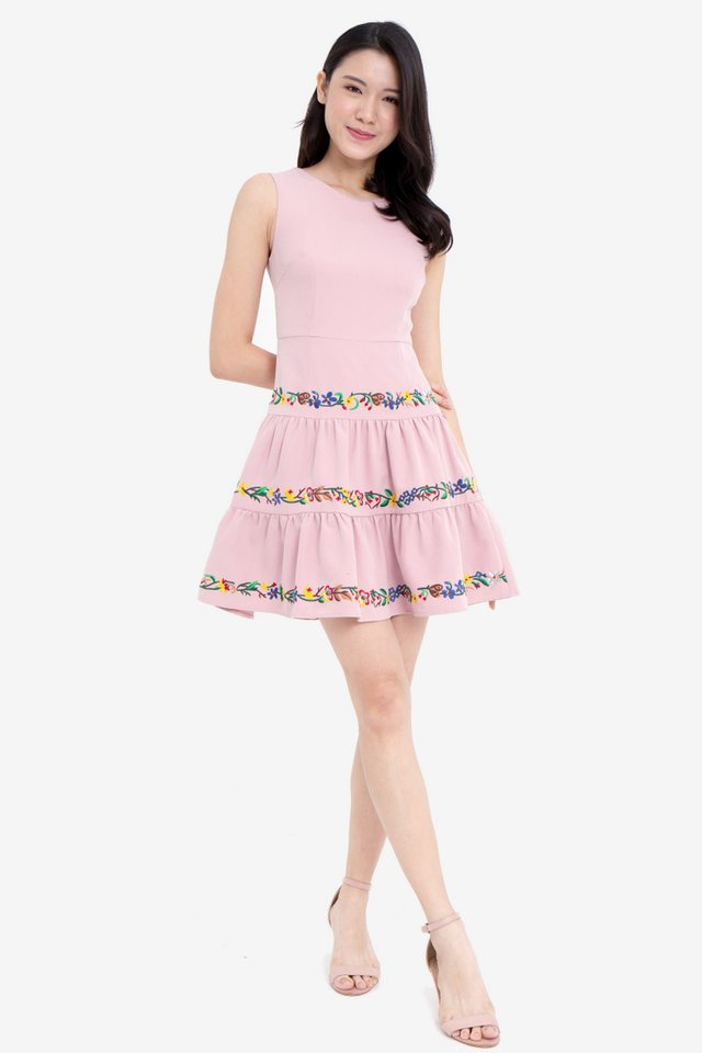 Brittany Embroidery Detailed Skater Dress (Pink)