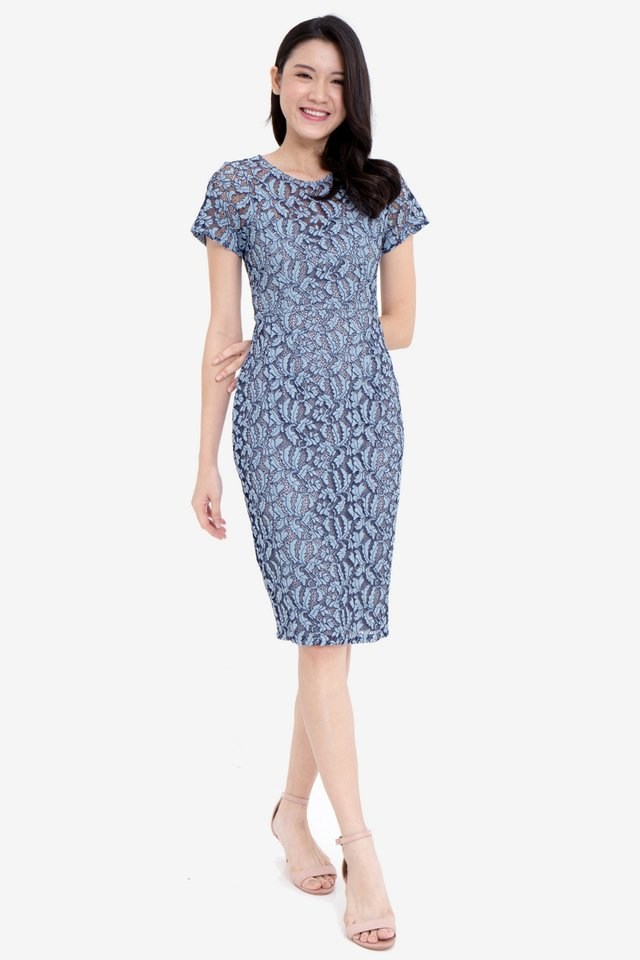 Bianca Sleeved Lace Dress (Blue)