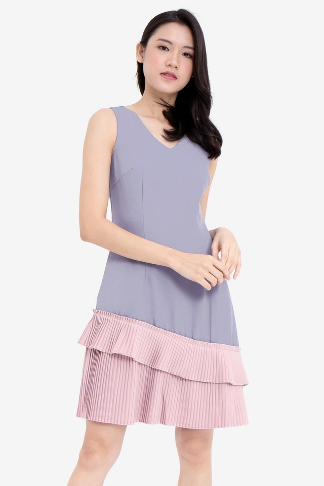 Hellen V-Neck Pleated Hem Dress (Grey/Pink)