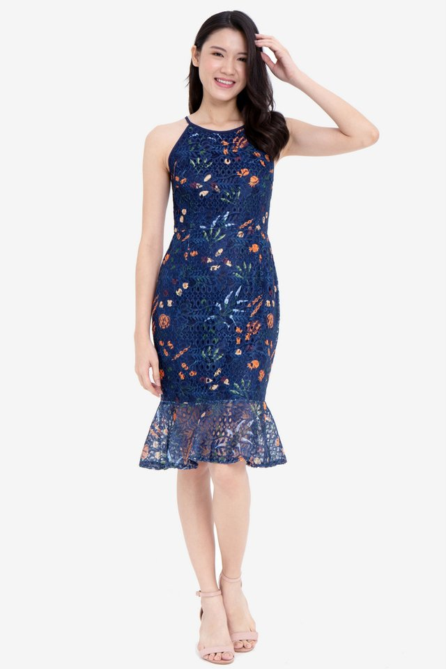 Hsu Printed Lace Dress (Navy Blue)