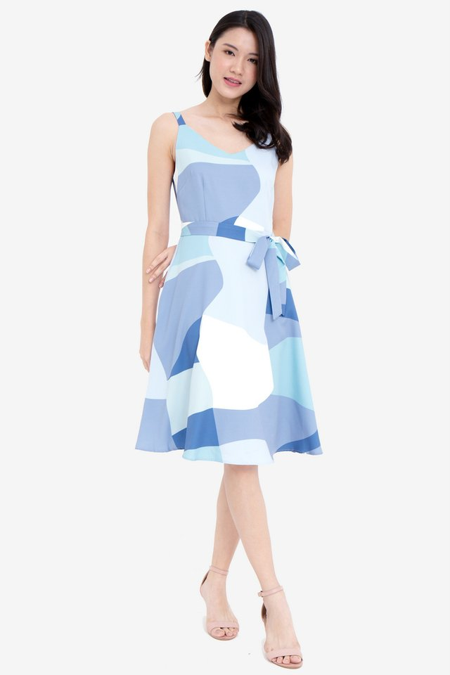 Wallen V Neck Abstract Skater Dress (Blue)