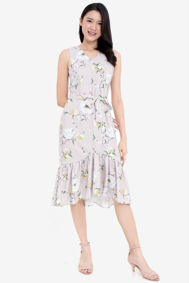 Herlina Floral Midi Mermaid Dress (Sand)