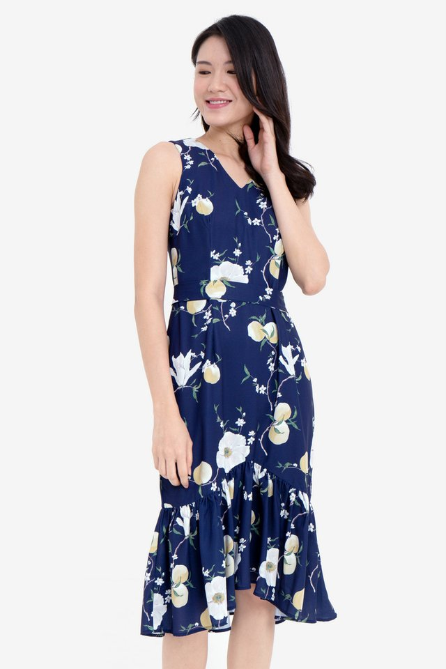 Herlina Floral Midi Mermaid Dress (Navy)