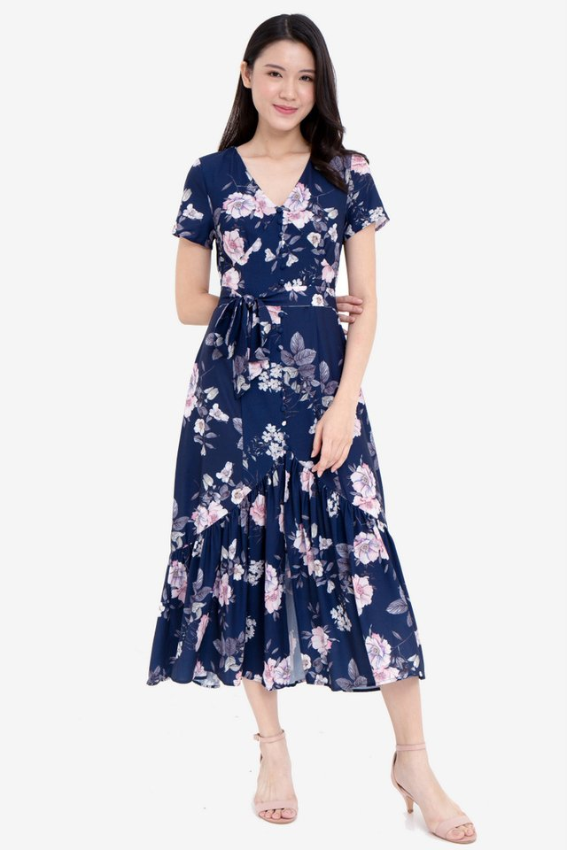 Joellen Floral Midi Dress (Navy Blue)