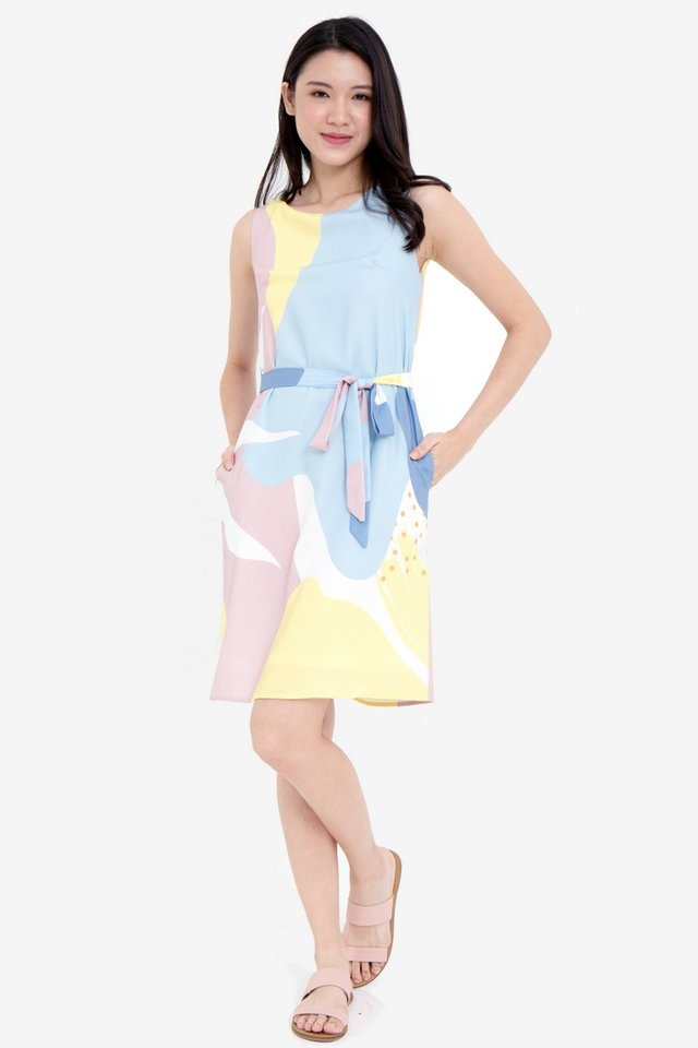 Tina Abstract Midi Dress (Yellow)