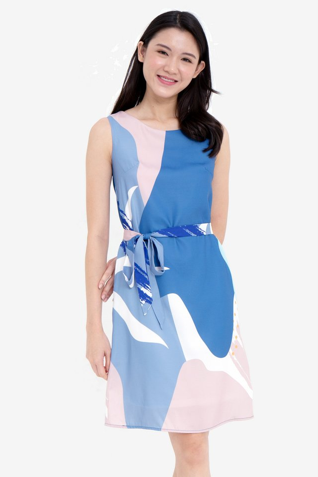 Tina Abstract Midi Dress (Blue)