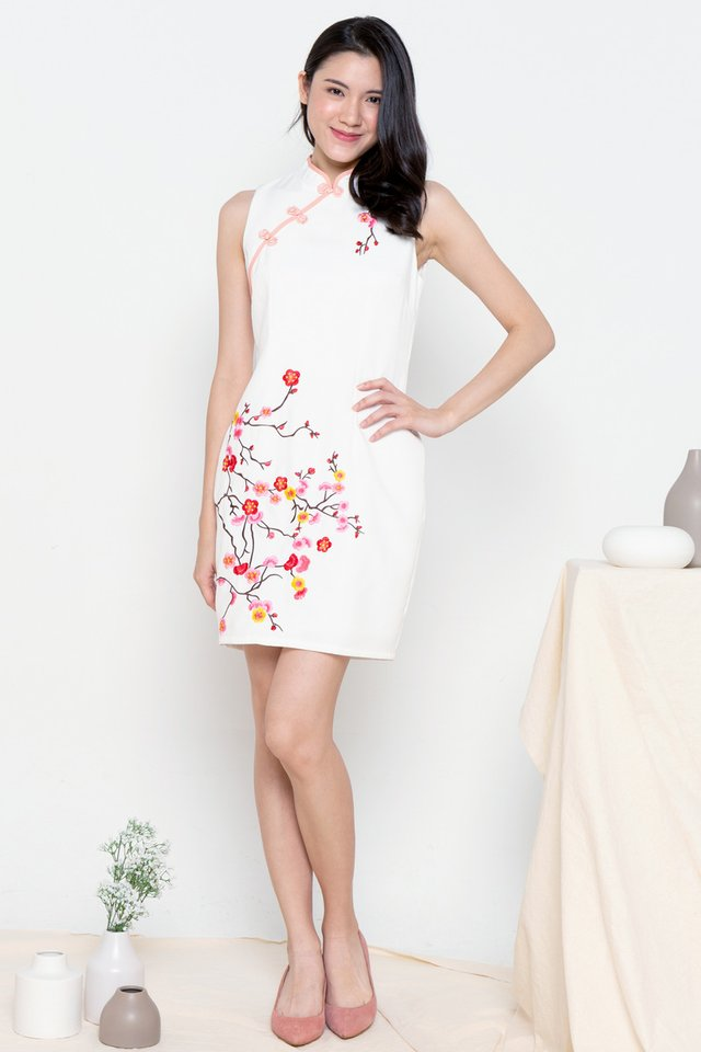 Kalina Embroidery Floral Cheongsam Dress (White)