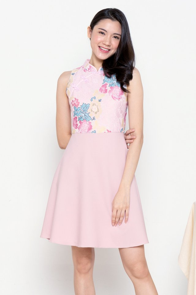Kyle Colourful Lace Cheongsam Dress (Pink)