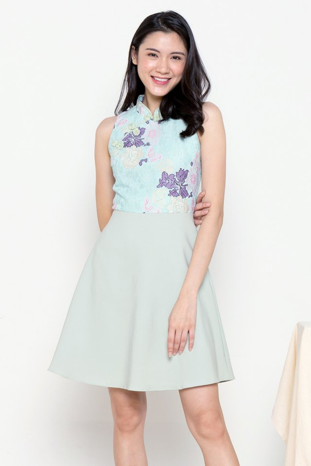 Kyle Colourful Lace Cheongsam Dress (Green)
