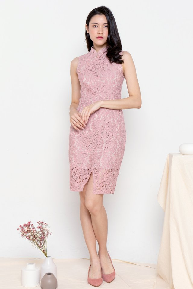 Althea Lace Cheongsam Dress (Pink)